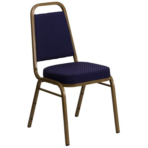 TOUGH ENOUGH Series Trapezoidal Back Stacking Banquet Chair in Navy Patterned Fabric - Gold Frame