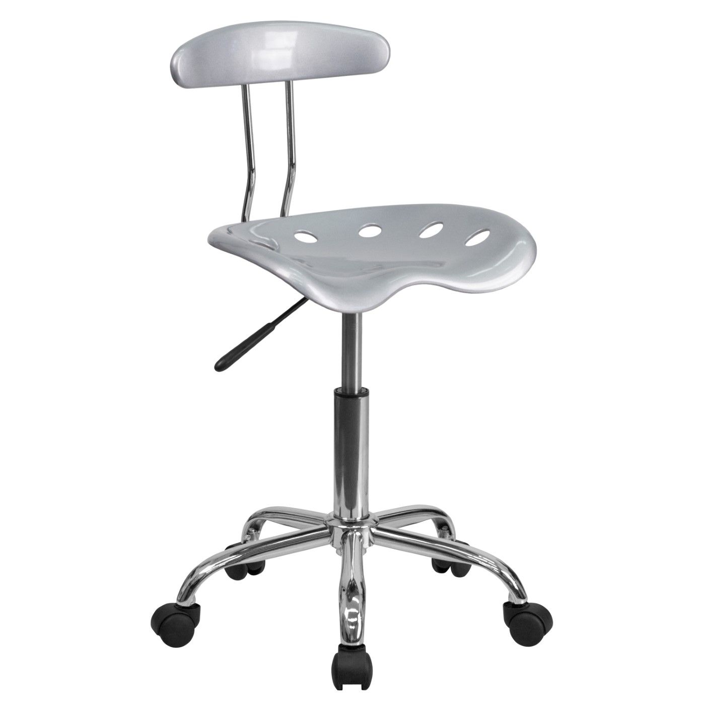 Vibrant Silver and Chrome Swivel Task Office Chair with Tractor Seat