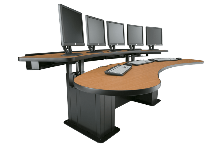 "BANANA TABLE CONTROL ROOM CONSOLE WIDTH 72"" WIDE #EHBAN-18. EIGHT ELECTRIC MOTORS:"