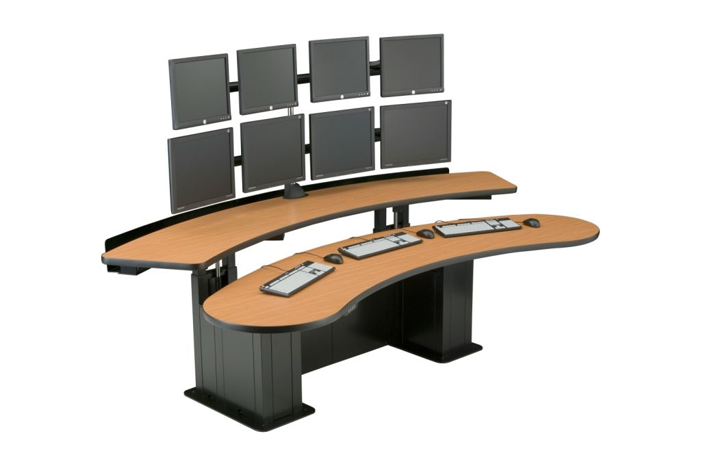 CONTROL ROOM CONSOLES. COMMAND CENTER DESKS. W/SOCIAL DISTANCING PANELS: