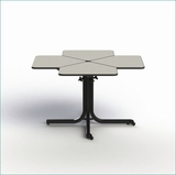 WHEELCHAIR ACCESSIBLE ADJUSTABLE HEIGHT DINING TABLE 4-PERSONS. VIDEO. MODEL #BFL4-41