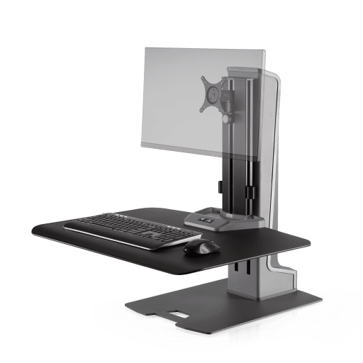 Work To Get Fit! Yes you can with the Winston Electric Motorized Single Monitor Stand WNSTE-1-270: