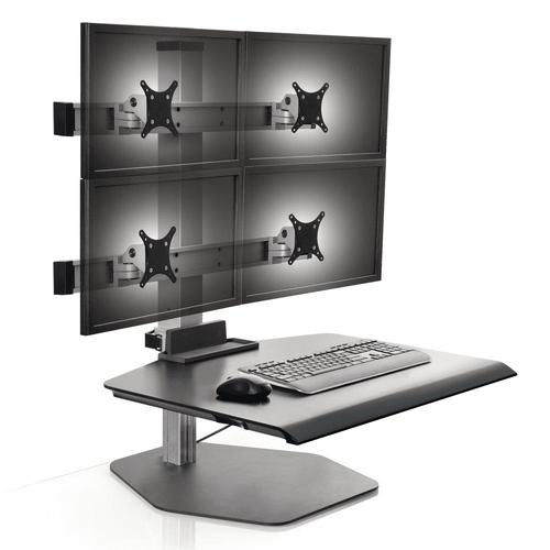 "WINSTON INNOVATIVE QUAD MONITOR SIT TO STAND DESK RISER VERTICAL HEIGHT ADJUSTMENT 17"". SUPPORTS MONITORS UP TO 30"". #WNST-2OVER2-FS-M. VIDEO</b ADD TO CART FOR FREE SHIPPING:"