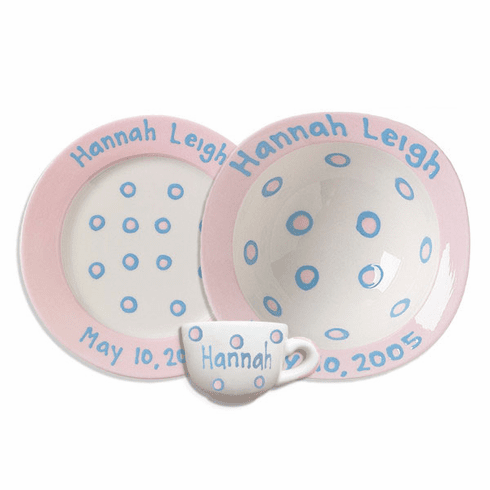 Personalized Baby Dot Dishware Blossom Pink Cup Bowl And Plate Set