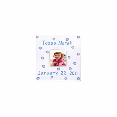 Personalized Baby Dot Dishware Blossom Pink Frame