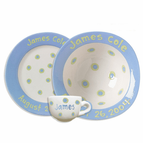 Personalized Baby Dot Dishware Cornflower Blue Cup Bowl And Plate Set