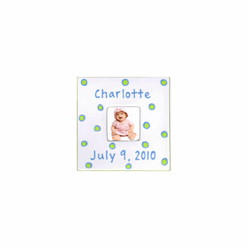 Personalized Baby Dot Dishware Sweet Pea Green Frame