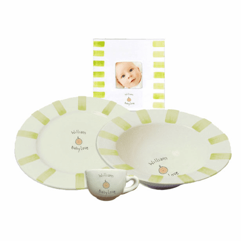 Personalized Baby Stripe Dishware Baby Love