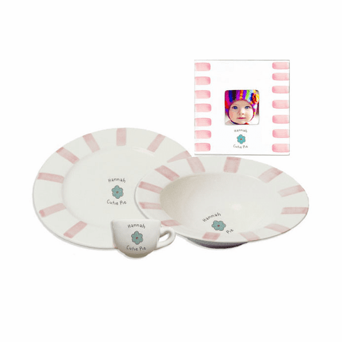 Personalized Baby Stripe Dishware Cutie Pie