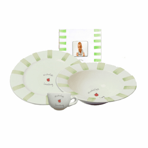 Personalized Baby Stripe Dishware Love Bug