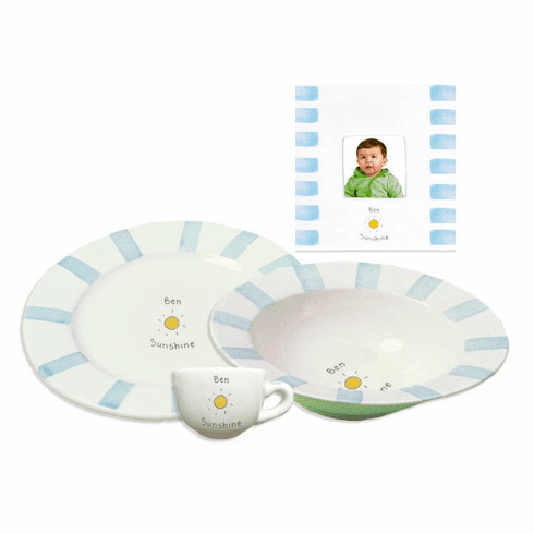 Personalized Baby Stripe Dishware Sunshine