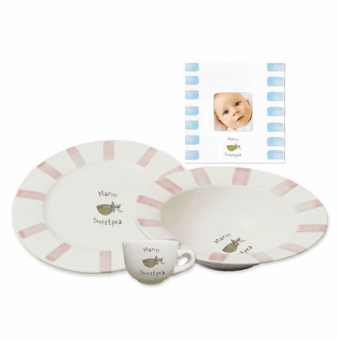 Personalized Baby Stripe Dishware Sweet Pea