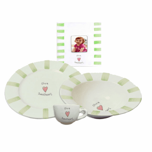 Personalized Baby Stripe Dishware Sweetheart