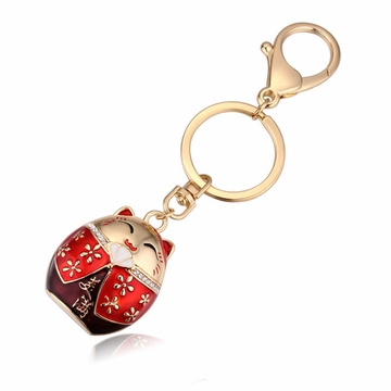 Red Lucky Cat Keychain