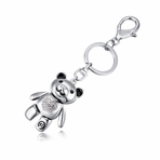 Silver Color Teddy Bear Keychain