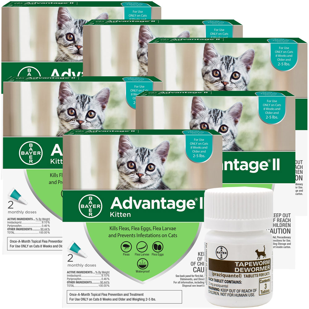 12 MONTH Advantage II Flea Control for Kittens (2-5 lbs) + Tapeworm Dewormer for Cats (3 Tablets)