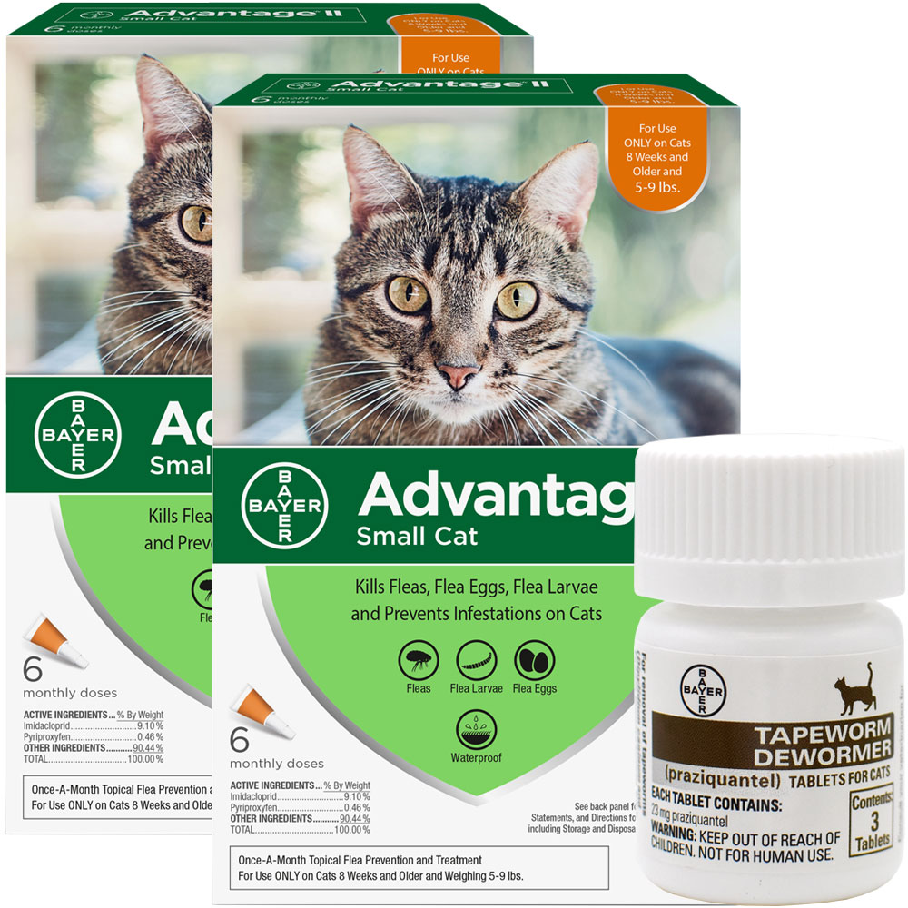 12 MONTH Advantage II Flea Control for Small Cats (5-9 lbs) + Tapeworm Dewormer for Cats (3 Tablets) im test
