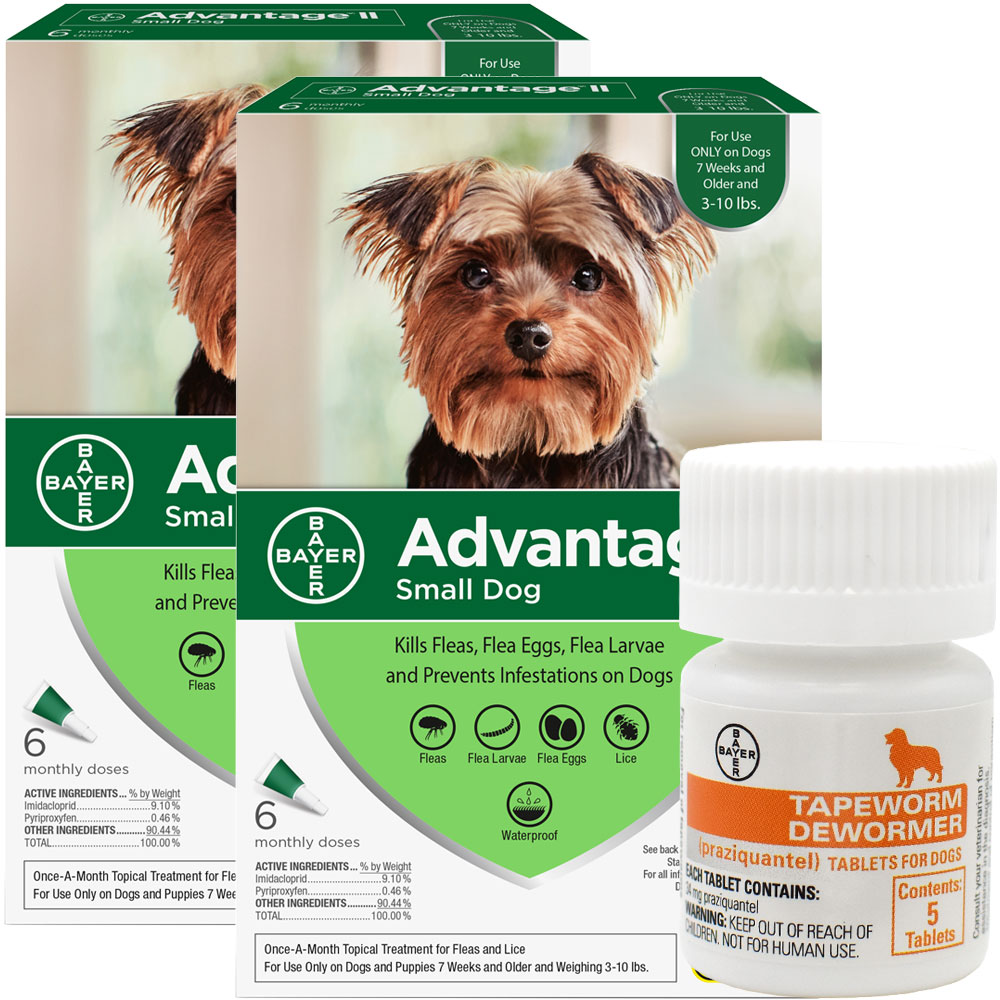 12 MONTH Advantage II Flea Control for Small Dogs (under 10 lbs) + Tapeworm Dewormer for Dogs (5 Tablets) im test