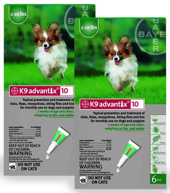 12 MONTH K 9 ADVANTIX Green (for dogs up to 10lbs.) im test