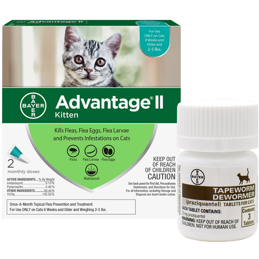 2 MONTH Advantage II Flea Control for Kittens (2-5 lbs) + Tapeworm Dewormer for Cats (3 Tablets) im test