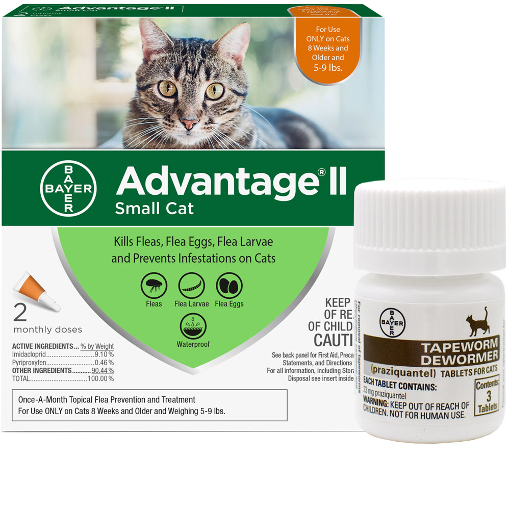 http://www.entirelypets.com - 2 MONTH Advantage II Flea Control for Small Cats (5-9 lbs) + Tapeworm Dewormer for Cats (3 Tablets) 38.31 USD