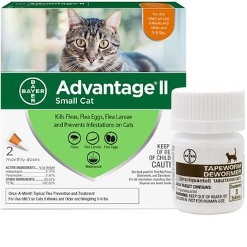 2 MONTH Advantage II Flea Control for Small Cats (5-9 lbs) + Tapeworm  Dewormer for Cats (3 Tablets)   On Sale   EntirelyPets
