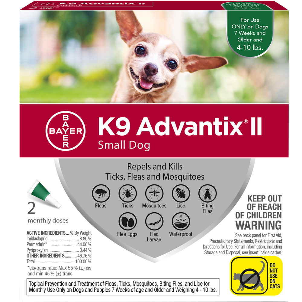 2 MONTH K9 Advantix II GREEN for Small Dogs (up to 10 lbs)