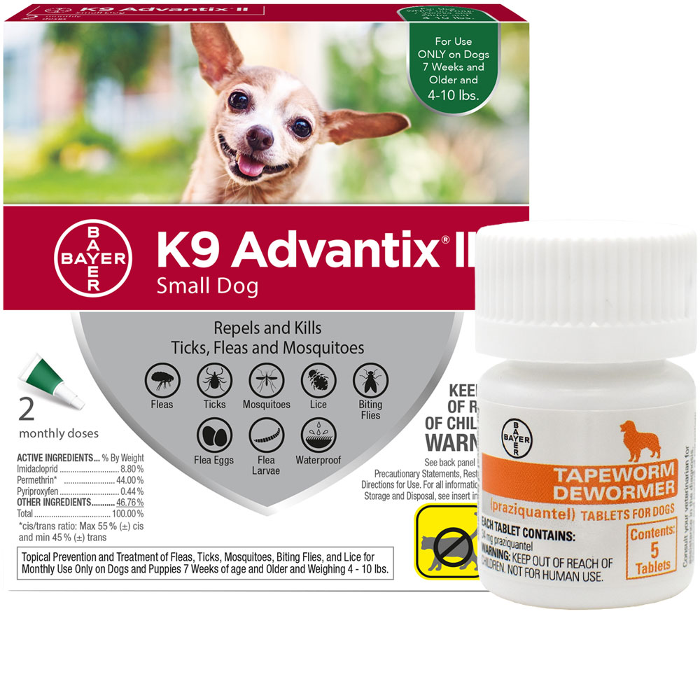 2 MONTH K9 Advantix II GREEN for Small Dogs (upto 10 lbs) + Tapeworm Dewormer for Dogs (5 Tablets)