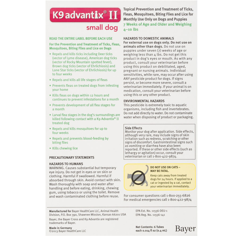 2 Month K9 Advantix Ii Green For Small Dogs Upto 10 Lbs Tapeworm