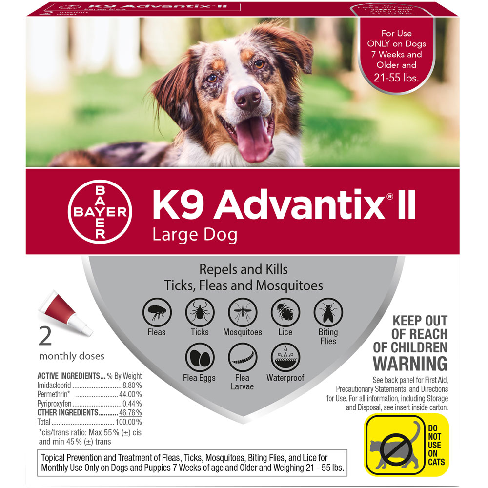 2 MONTH K9 Advantix II RED for Large Dogs (21-55 lbs)