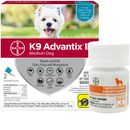 2 MONTH K9 Advantix II TEAL for Medium Dogs (11-20 lbs) + Tapeworm Dewormer for Dogs (5 Tablets)