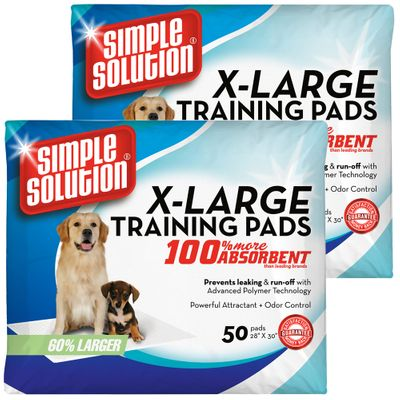 """2-PACK Simple Solution Training Pads - Extra Large (100 Pad Pack 28"""" x 30"""")"""