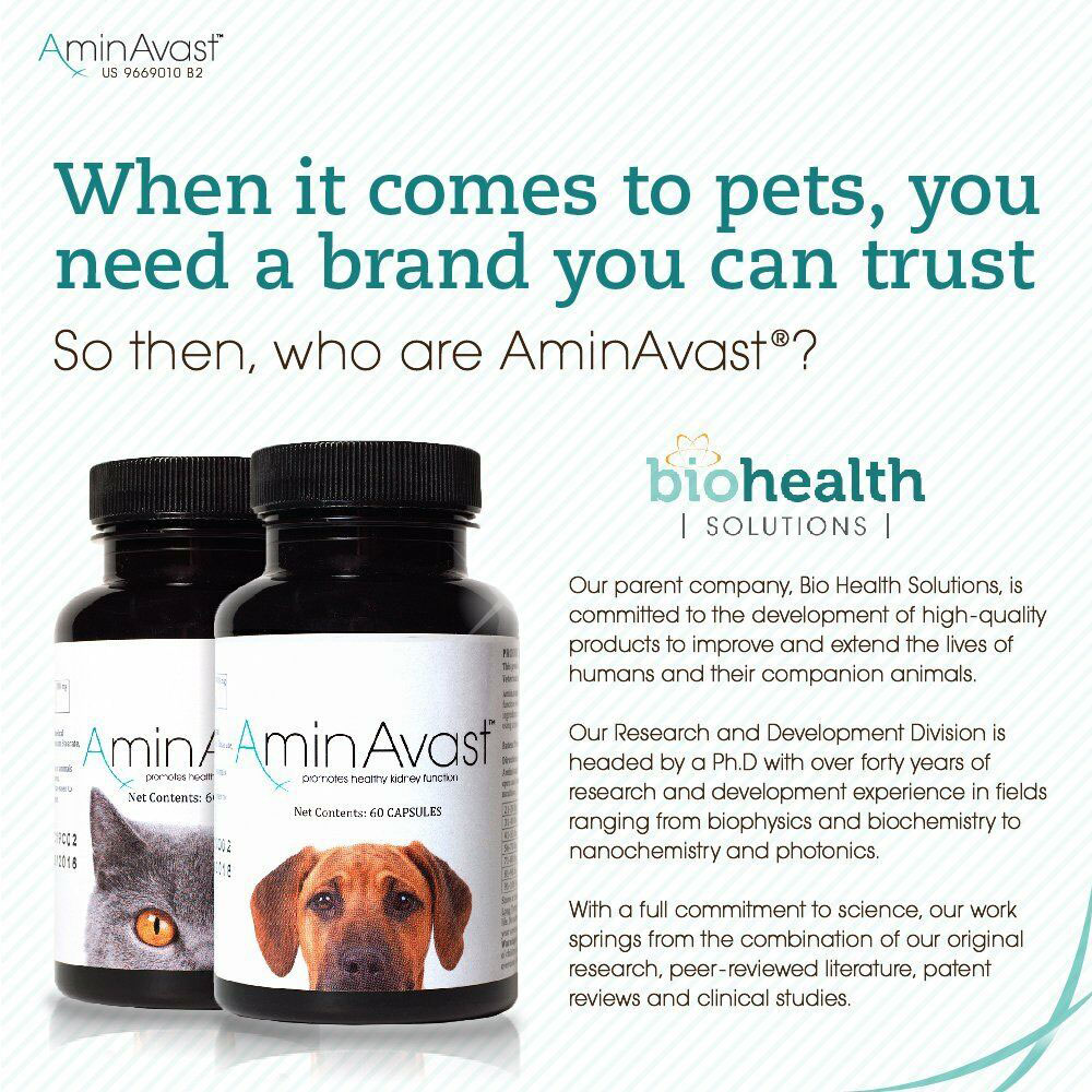 Two bottles of AminAvast for dogs and the other for cats next to dosage chart for animal and weight