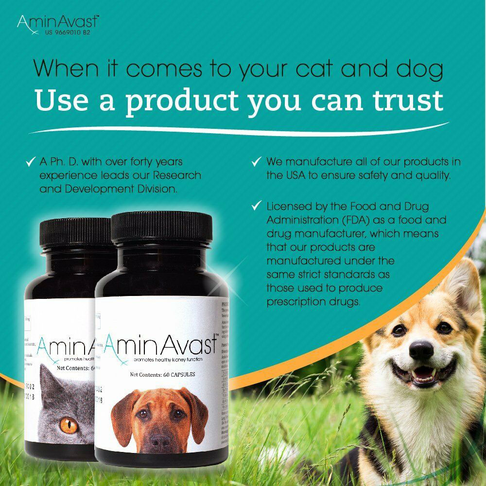 Two bottles of AminAvast for dogs and the other for cats next to amazon 5 star reviews