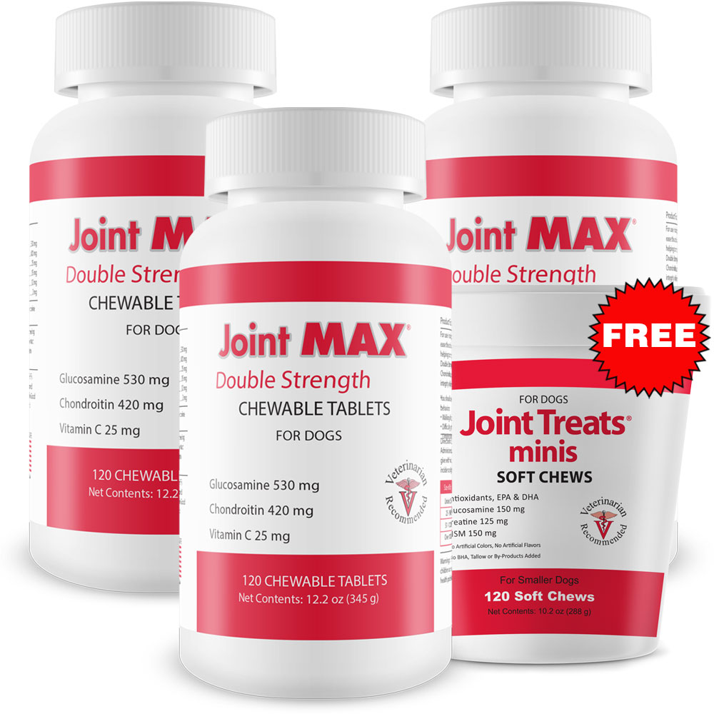 Image of 3-PACK Joint MAX Double Strength (360 Chewable Tablets) + FREE Joint Treats Minis