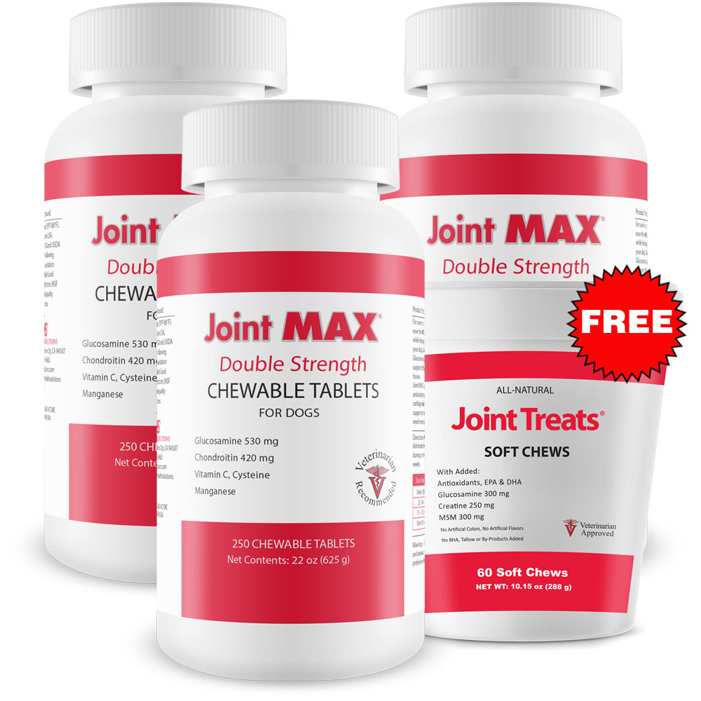 Image of 3-PACK Joint MAX Double Strength (750 Chewable Tablets) + FREE Joint Treats