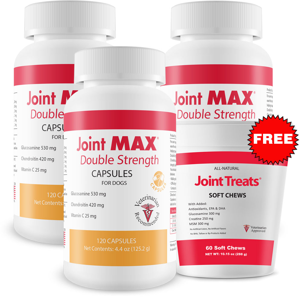 Image of 3-PACK Joint MAX Double Strength Capsules (360 Count) + FREE Joint Treats
