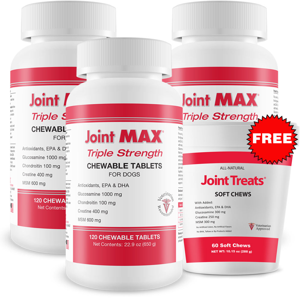 3-PACK Joint MAX Triple Strength (360 Chewable Tablets) + FREE Joint Treats im test