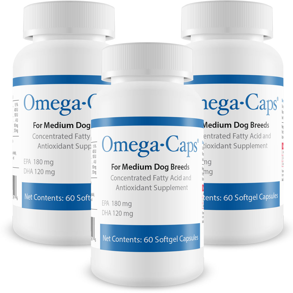 3-Pack Omega-Caps For Medium Dogs - 180 Softgel Capsules - from EntirelyPets