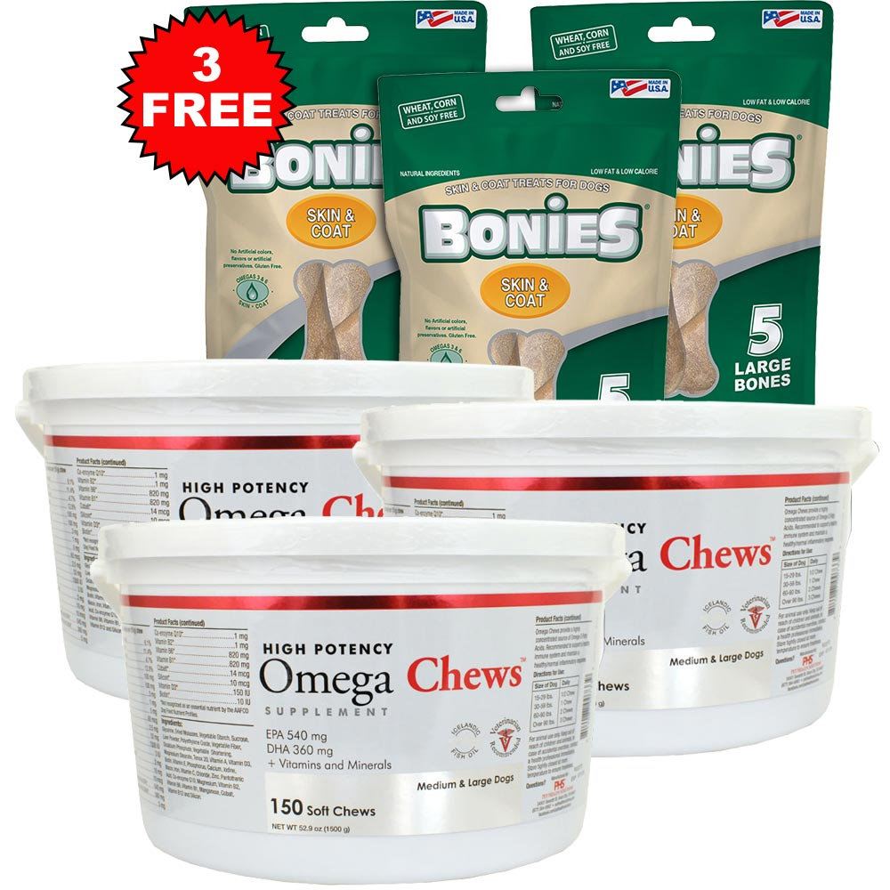 Image of 3-Pack Omega Chews for Medium & Large Dogs - 450 Soft Chews - + FREE BONIES Skin & Coat Health Multi-Pack Large - 15 Bones - from EntirelyPets