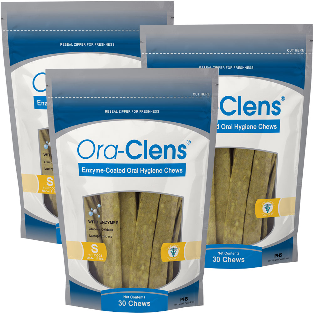 Image of 3-Pack Ora-Clens Oral Hygiene Chews Small - 90 Chews - For Dogs - from EntirelyPets