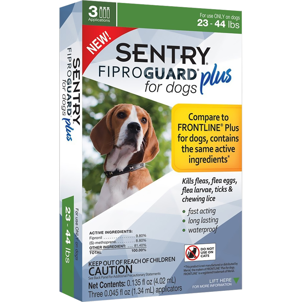 3-PACK SENTRY FiproGuard Plus Flea & Tick Spot-On for Dogs (23-44 lbs) im test