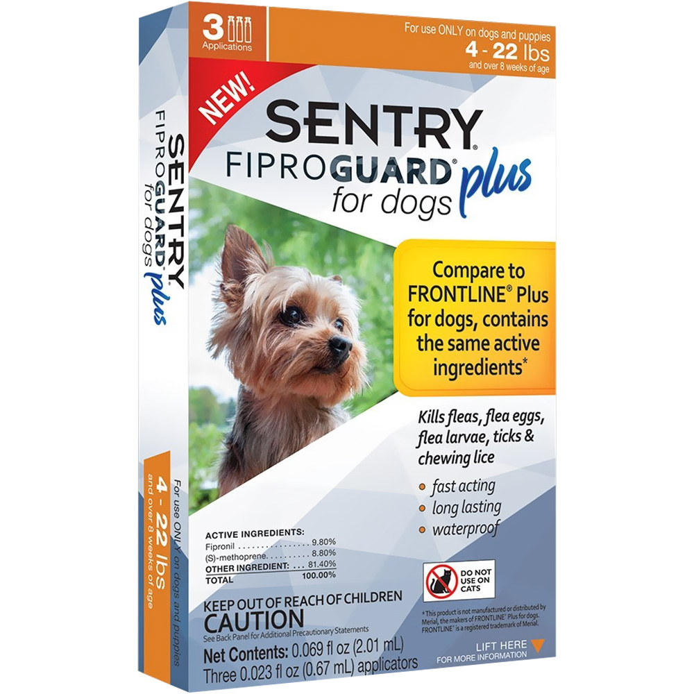 3-PACK SENTRY FiproGuard Plus Flea & Tick Spot-On for Dogs (4-22 lbs) im test