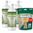 Simply Wild Salmon Oil 3-PACK (48 fl oz) + Free BONIES Skin and Coat Health MINI (20 Bones 7 oz)