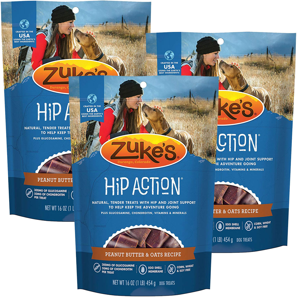 Image of Zuke's Hip Action with Glucosamine and Chondroitin 3 Packs - PEANUT BUTTER (3 lb)