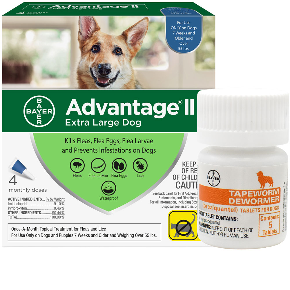 4 MONTH Advantage II Flea Control for Extra Large Dogs (Over 55 lbs) + Tapeworm Dewormer for Dogs (5 Tablets)