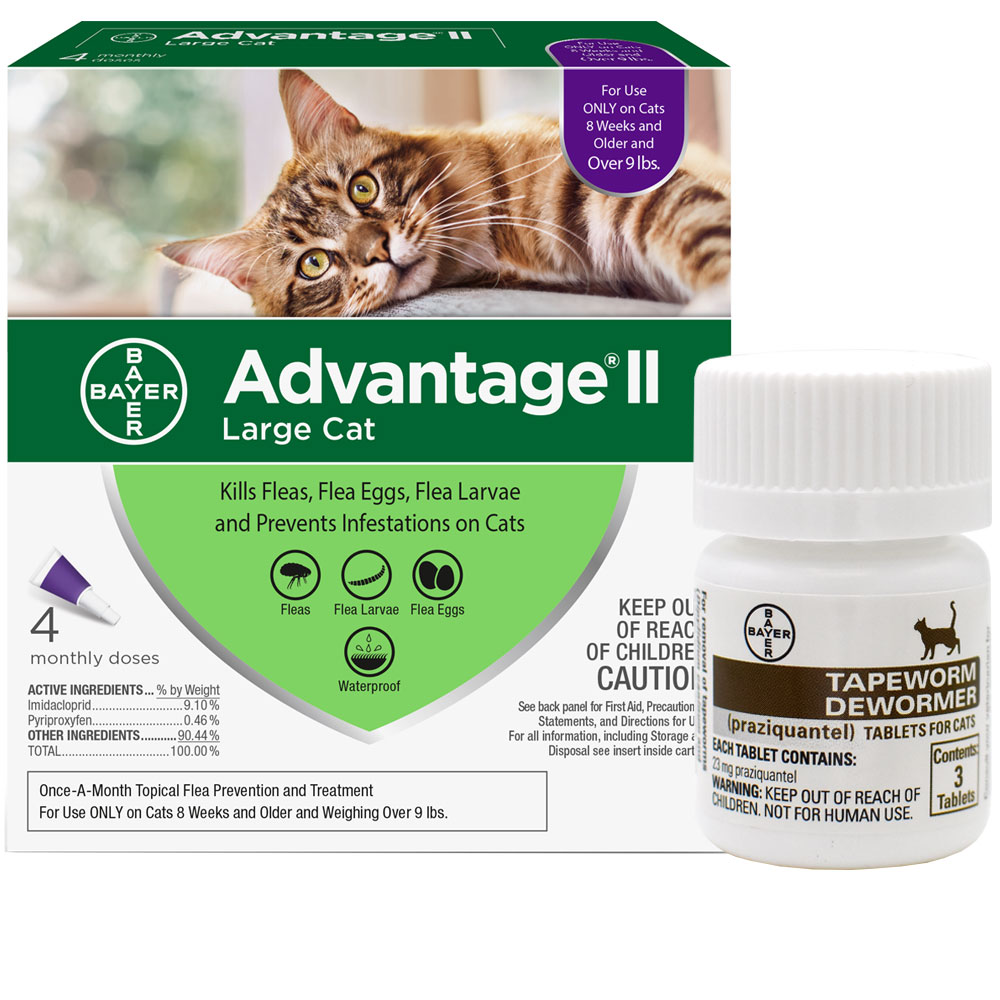 4 MONTH Advantage II Flea Control for Large Cats (over 9 lbs) + Tapeworm Dewormer for Cats (3 Tablets) im test