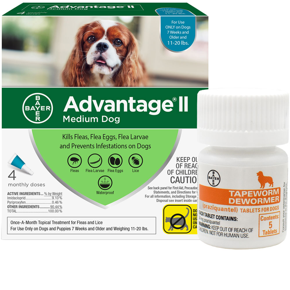 4 MONTH Advantage II Flea Control for Medium Dogs (11-20 lbs) + Tapeworm Dewormer for Dogs (5 Tablets) im test