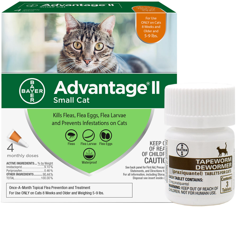4 MONTH Advantage II Flea Control for Small Cats (5-9 lbs) + Tapeworm Dewormer for Cats (3 Tablets)