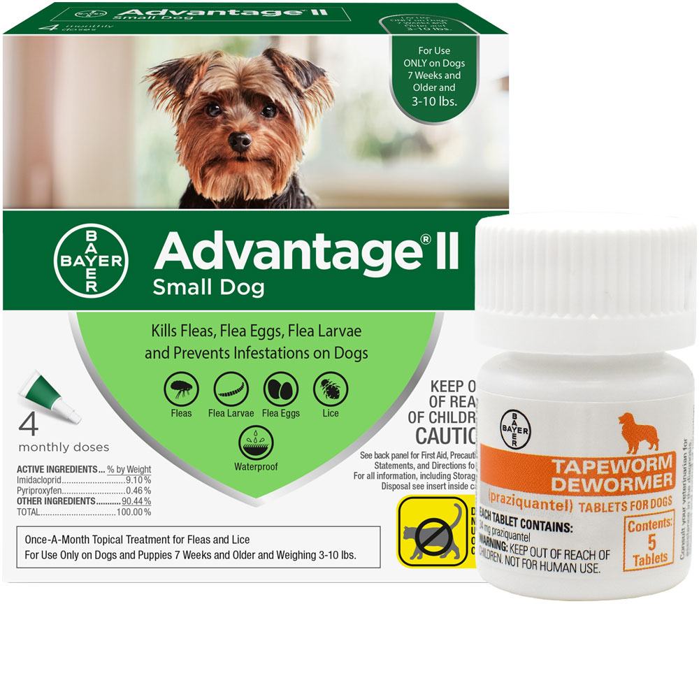 4 MONTH Advantage II Flea Control for Small Dogs (under 10 lbs) + Tapeworm Dewormer for Dogs (5 Tablets) im test